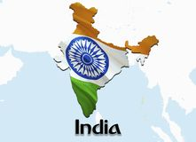 Flag Map of India. 3D rendering India map and flag on Asia map. The national symbol of India. New Delhi flag map background image. Download HD.India National stock illustration