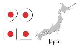 Flag map japan Stock Images