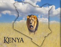 Flag Map of Kenya on which is a picture of a lion. There is the text of Kenya. There is It is national african background. There. Is golden grass and blue sky royalty free stock photography