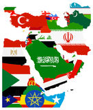 Flag Map of the Middle East Stock Photo