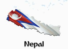 Flag Map of Nepal. 3D rendering Nepal map and flag on Asia map. The national symbol of Nepal. Kathmandu flag map background image. Download HD.Nepal National stock illustration