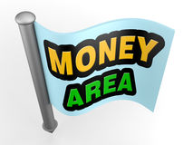 Flag map pointer with sign. 3d flag map pointer with money area sign Royalty Free Stock Photography