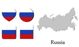 Flag map russia Stock Image