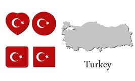 Flag map turkey Royalty Free Stock Images