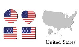 Flag map united states Stock Images