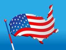 Flag from a map USA Stock Photography