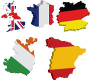 Flag maps of european countries Stock Photo