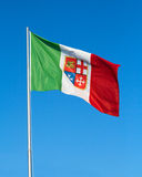 Flag marine republics. Tricolor flag flying in the blue sky royalty free stock photos