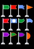 Flag marker set for infographic design, flag collection in different shapes and colors Stock Image