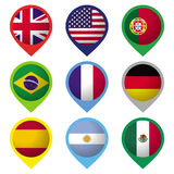 Flag Marks. Collection of 9 flags, presented as location marks. Ai10 EPS vector illustration with global colors Stock Photography