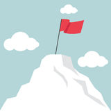 Flag marks the top of the mountain landscape Royalty Free Stock Image