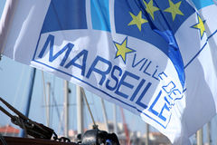 Flag of marseille, france, 2013 Stock Images