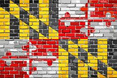 Flag of Maryland on a brick wall Stock Photography