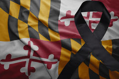 Flag of maryland state with black mourning ribbon Royalty Free Stock Image