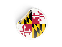 Flag of maryland, US state round sticker Royalty Free Stock Photography