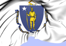 Flag of Massachusetts, USA. Royalty Free Stock Photos