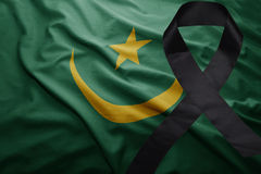 Flag of mauritania with black mourning ribbon Stock Photography