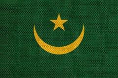 Flag of Mauritania on old linen Stock Photo