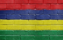 Flag of Mauritius on brick wall Stock Photo