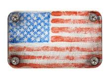 Flag on metal. USA flag on metal texture Stock Image