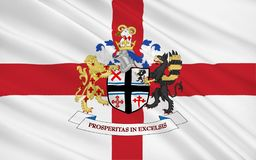 Flag of Metropolitan Borough of St Helens is a metropolitan boro. Ugh of Merseyside, in North West England royalty free illustration