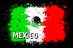 Flag of Mexico from blots of paint Stock Images