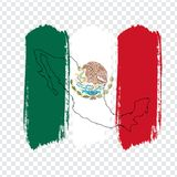Flag of Mexico from brush strokes and Blank map Mexico. High quality map of Mexico on transparent background. Stock . Vector illustration EPS10 royalty free illustration
