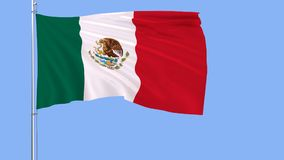 Flag of Mexico on a flagpole fluttering in the wind on a blue background, 3d rendering. Stock Photography