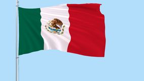 Flag of Mexico on a flagpole fluttering in the wind on a transparent blue background, 3d rendering, PNG format with ALPHA transpar stock video