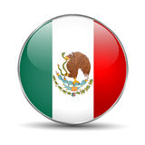 Flag of Mexico. Mexican round glass button. Stock Images