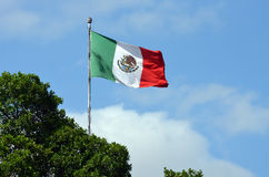 Flag of Mexico. Mexican flag waving against clear blue sky royalty free stock photography