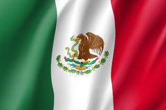 Flag Mexico realistic icon. State insignia of the nation in realistic style on the entire page. Waving state flag. National symbol in the form of a vector Stock Photos