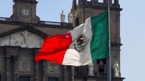 Flag of mexico and the toluca cathedral Stock Photo