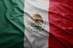 Flag of Mexico. Waving colorful national Mexican flag royalty free stock photo
