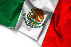 Flag of Mexico on white background. Fabric Flag of Mexico on white background vector illustration