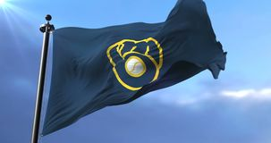 Flag of the Milwaukee Brewers, american professional baseball team - loop. Flag of the team of the Milwaukee Brewers, american professional baseball team, waving stock video