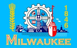 Flag of Milwaukee in Wisconsin, USA. Flag of Milwaukee is the largest city in the State of Wisconsin and the fifth-largest city in the Midwestern United States stock photography