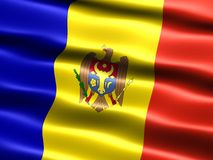 Flag of Moldova. Computer generated illustration of the flag of Moldova with silky appearance and waves royalty free illustration