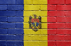 Flag of Moldova on brick wall Stock Image