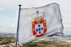 Flag of monarchy. Close up view of an old flag of Portugal in the times of kings Royalty Free Stock Images