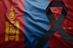 Flag of mongolia with black mourning ribbon. Waving national flag of mongolia with black mourning ribbon Stock Photography