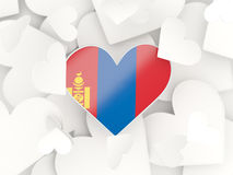 Flag of mongolia, heart shaped stickers. Background. 3D illustration Royalty Free Stock Images