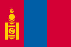 The flag of Mongolia, vector flat style Royalty Free Stock Images