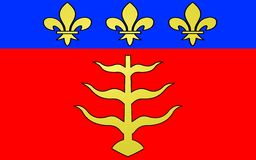 Flag of Montauban, France. Flag of Montauban is a commune in the Tarn-et-Garonne department in the Midi-Pyrénées region in southern France royalty free illustration