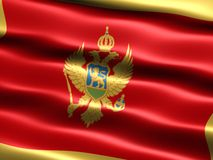 Flag of Montenegro. Computer generated illustration of the flag of Montenegro with silky appearance and waves stock illustration