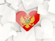 Flag of montenegro, heart shaped stickers. Background. 3D illustration Royalty Free Stock Images