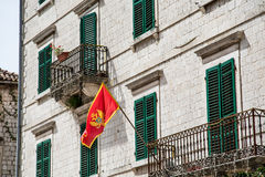 Flag of Montenegro on old building Royalty Free Stock Photography