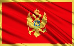 Flag of Montenegro. The flag of Montenegro was officially adopted on statehood day on 13th July 2004 at the proposal of the government of Montenegro. It was royalty free illustration