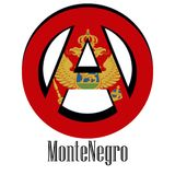 Flag of Montenegro of the world in the form of a sign of anarchy stock illustration