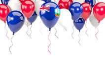 Flag of montserrat on balloons. Flag of montserrat, with balloons frame isolated on white. 3D illustration Stock Photo